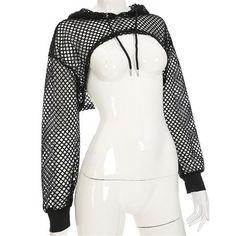8dd1c9362f ArtSu Long Sleeve Tshirt Women Mesh Top Hooded Hollow Out Sexy Punk Rock  Short Crop Top White T-shirt Fishnet Black
