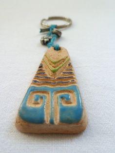 Ceramic Key Chain/ Hand Made Key Chain/Handmade by tulinozder