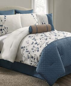 Another great find on #zulily! Blue Sadie Comforter Set by Victoria Classics #zulilyfinds