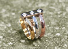 Roman Collection  18k tricolor diamond ring. Roman, Rings For Men, Jewels, Diamond, Collection, Men Rings, Jewerly, Diamonds, Gemstones