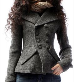 Women's Slim Fit Double Breast Short Fleece Jackets Girl's Long Sleeves Big Turn Down Collar Cashmere Coats Tops Gray