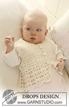 Gilet sans manches au crochet pour bébé et enfant, avec point d'éventail, en DROPS BabyMerino.