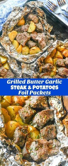 This Grilled Butter Garlic Steak & Potato Foil Pack Dinner is the quick and easy dinner idea you were looking for, but thought you'd never find. Steak & potatoes were meant to go together, and they come through as the shining stars they were meant to be i Foil Packet Dinners, Foil Pack Meals, Tin Foil Dinners, Hobo Dinners, Grilling Foil Packets, Steak Foil Packets, Beef Recipes, Cooking Recipes, Healthy Recipes