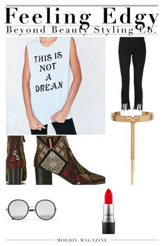Try this edgy look for a day out on the town by Beyond Beauty Styling Co. #UO #NetAPorter #MAC #SteveMadden