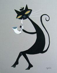El Gato Gomez black cat plays saxophone