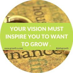 In life, you are either motivated by internal or external leverage to grow and take action. Motivation comes when you are compelled or inspired by your own vision or by someone else's vision. Either way, you need a vision that inspires you, your partner, your family or your team to take action.     Your vision must inspire you to want to grow and move through the necessary resistance that awaits you in the realization of that vision.  #motivated #inspired #dailygrowth