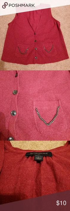 """Banana Republic Grandfather Sweater Vest Great condition, button front with two front pockets + chain details, deep red, 21"""" L, 17"""" L, 10% rabbit hair, 60% cotton, 30% nylon Banana Republic Sweaters"""