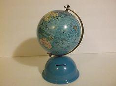 Vintage Metal Globe Bank  Seo Jeon Ind Co. Made in Korea