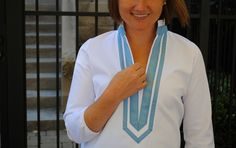 Lake Shore in Crisp White with Hydrangea Blue by Elizabeth Doorhy // Made in USA // Fall Fashion // Classic Fashion // Preppy // Tunic // Grosgrain Ribbon // Made in Chicago // Fall Style // American Made