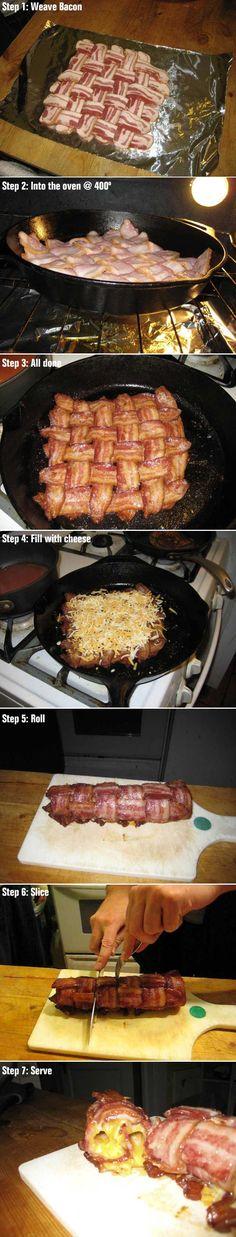 I gotta make this. Finger Foods, Heart Attack, Bacon Bacon, Bacon Roll, Turkey Bacon, Cheese Wrap, Cheese Log, Bacon Explosion, Scrambled Eggs
