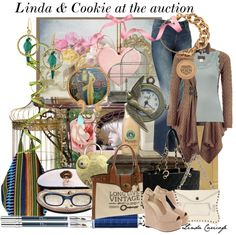 """Linda & Cookie at the antiques to jewelry auction"" by lindacaricofe on Polyvore"