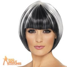 Quirky Bob Wig Black and White Vamp Short Ladies Fancy Dress Halloween New