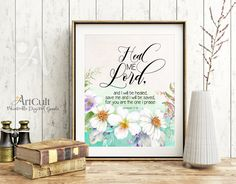 """Printable wall Art, digital download, Bible verse """"Heal me, LORD, and I will be healed"""" get well wishes, Home decor artwork, ArtCult designs by ArtCult on Etsy"""