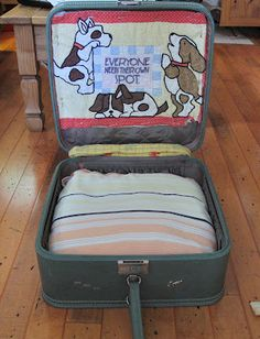 a pet bed from an old suitcase; great idea for my cat who loves to climb into my suitcase every time I try to pack for a trip