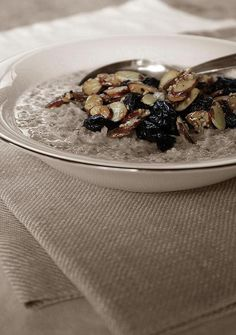 """""""World's Best Oatmeal"""" - with prunes, toasted almonds and sesame seeds 