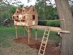 "to Build a Tree Fort Not sure how much the ""kit"" costs. Great idea to build the fort not IN the tree!Not sure how much the ""kit"" costs. Great idea to build the fort not IN the tree! Backyard Fort, Backyard Playhouse, Backyard For Kids, Kid Playhouse, Cozy Backyard, Backyard Ideas, Simple Tree House, Diy Tree House, Pallet Tree Houses"