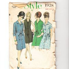 Vintage 1960s sewing pattern- mod button though front mini dresses, various styles