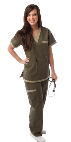 61fda0b8647 Olive & Cameo Contrast Cargo Pocket Scrubs For Women Vet Scrubs, Scrubs  Uniform, Camo