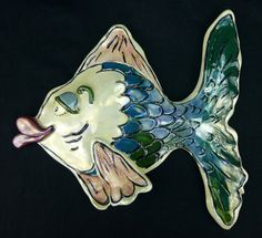 Blue Sky Clayworks - Teal Kissy Fish, 2000 - Heather Goldminc, Large Ceramic Wall Hanging.  These adorable kissy fish is perfect for a beach house or fun themed bathroom! Order today from #GreatSkyGifts - http://www.ebay.com/itm/Blue-Sky-Clayworks-Teal-Kissy-Fish-2000-Heather-Goldminc-Large-Ceramic-Wall-Hang-/311151896870?pt=LH_DefaultDomain_0&hash=item4872192926 #Art #Ceramic #Fish #Water #Ocean