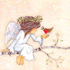 Leading Illustration & Publishing Agency based in London, New York & Marbella. Angel Illustration, Christmas Illustration, Christmas Images, Christmas Angels, Angel Drawing, I Believe In Angels, Angel Pictures, Angel Cards, Fairy Art
