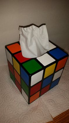 Replica Wooden Rubik's Cube Tissue Box Cover by BestDarnCrafts