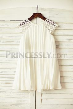 Ivory Pleated Chiffon Lace Flower girl dress with cap sleeves