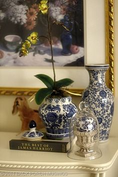 blue/white vases, orchid, print