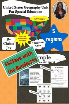 US Geography Unit for Special Education.  This bundle covers all 5 major regions of the US.  Each region has a story, circle maps, student booklet, coloring sheets, picture recipe and assessment.  All the material is specifically designed for students with special learning needs, especially autism.  Save with the bundle or just download the region you need .  Download at:  https://www.teacherspayteachers.com/Product/United-States-Geography-Unit-for-Special-Education-2263215