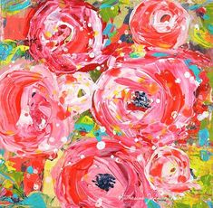 Pretty Pink Floral Palette Knife Painting Series No 322 by Katie Jeanne Wood