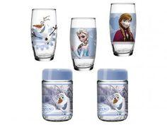 Jogo de Copos Vidro 3 Peças Colorido 430ml Nadir - Disney Frozen com 2 Potes