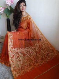 Banarasee/Banarasi Cotton Silk Mix Small Checks Saree With Floral Weaving Design-Rust