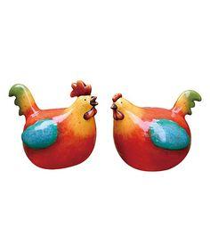 Another great find on #zulily! Rainbow Chicken Figurine - Set of Two #zulilyfinds
