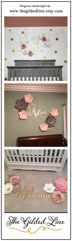 Paper wall flowers and large gold nursery name signs go perfectly well together. Gold Nursery, Nursery Name, Nursery Signs, Nursery Ideas, Wall Flowers, Flower Wall, Paper Flowers, Better Together, Name Signs