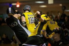 LipService of the Queen City Rollergirls, Double Destroyer and Mean Burrito of the Steel City Derby Demons. Photo by AJ Carpinelli.