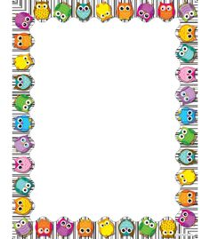 Use this whimsical, delightful Colorful Owls design to promote your classroom theme! So many uses to liven up projects, writing assignments, class new. Free Cliparts, School Border, Owl Theme Classroom, Boarders And Frames, Computer Paper, Writing Assignments, Borders For Paper, Binder Covers, Note Paper
