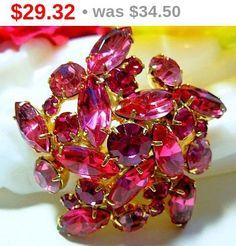 Domed Brooch Pin Pink Rhinestones Gold by BrightgemsTreasures