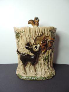 Vintage Deer Cookie Jar  Deer and Squirrel Cookie by bluejeanjulie