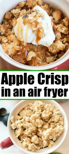 Make the Best Apple Crisp in Your Air Fryer or Ninja Foodi Right NOW! Air fryer apple crisp is amazing! Skip the oven and make this amazing fruit dessert in individual mugs tonight. Fall comfort food at it's finest right here. Air Fryer Recipes Dessert, Apple Dessert Recipes, Air Fryer Recipes Easy, Apple Crisp Recipes, Healthy Fruit Desserts, Instant Pot, Brownies, Best Apple Crisp, Air Frier Recipes