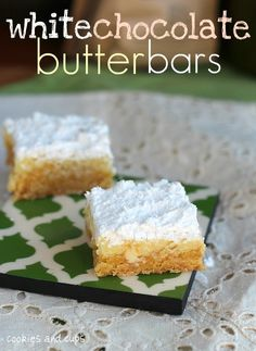 White Chocolate Butter Bars - made with a cake mix and white chocolate chips