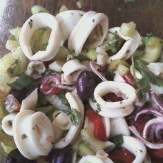 Italian Calamari Salad Recipe on recipe on (Christmas Recipes Salad) Cooking Calamari, Calamari Recipes, Squid Recipes, Fish Recipes, Seafood Recipes, Cooking Recipes, Squid Salad, Fish Salad, Seafood Salad