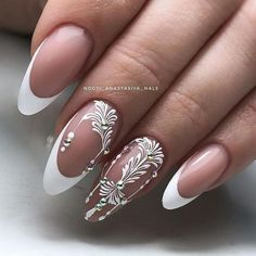 Nail art Christmas - the festive spirit on the nails. Over 70 creative ideas and tutorials - My Nails New Nail Designs, Acrylic Nail Designs, Pedicure Designs, Acrylic Gel, Trendy Nail Art, Cool Nail Art, Nail Art Arabesque, Bridal Nails, Wedding Nails