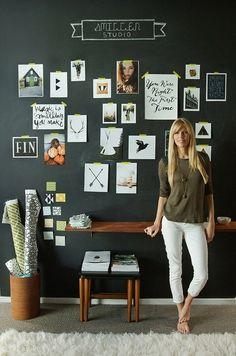 black wall. inspiration images. chalk writing. behind our work space. floating shelf/desk