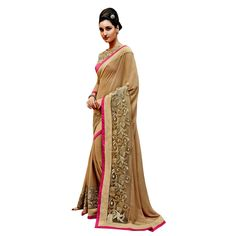 Beige Georgette Indian #Saree With Blouse- $47.10