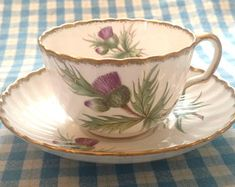 """Adderley Teacup and Saucer / """"Thistle"""" Design / Fine Bone China / England / Tea Party / Gift for Mom / Mother's Day Gift / Tea Cup / Purple"""