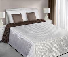 Saténové ecru hnedé obojstranné prehozy na posteľ