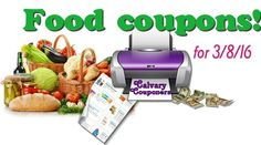 Food Only Printable Coupons for 3-8-16 Calvary Couponers and Crafters
