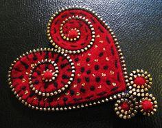 Felt and zipper heart brooch by woolly  fabulous, via Flickr