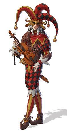 m Bard Royal Joker Lute Shortsword urban City Castle Palace lg Character Creation, Character Concept, Character Art, Concept Art, Character Design, Writing Fantasy, Fantasy Art, Dnd Characters, Fantasy Characters