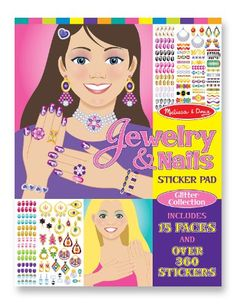 Kids' Jewelry Making Kits - Melissa  Doug Jewelry and Nails Glitter Sticker Pad  360 Stickers 15 Faces * More info could be found at the image url.