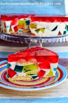 Kuchnia szeroko otwarta: Sernik na zimno z galaretkami Jello Recipes, Watermelon Recipes, Cake Recipes, Dessert Recipes, Polish Desserts, Polish Recipes, Cookie Desserts, Simple Cake Designs, Asian Desserts